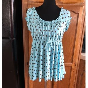 Whispers Polka Dot Empire Waist Top Large